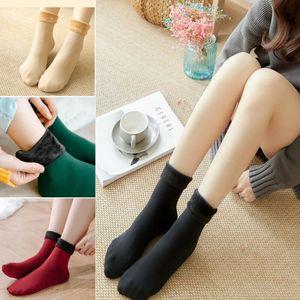 Delle signore delle donne Warm peluche termica calzini invernali neve spessa pile Boot Socks