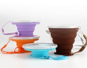 2018 Folding Silikon-Kaffeetasse Gefaltete Außenwasser Cup 270ml bewegliche Sport-Reisen Wasserflasche Geschenk für Freunde