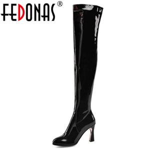 FEDONAS Blingbling Черная Лакированная Кожа Молния Женщины над сапогами Мода Панк Острым Носом Высокие Каблуки Ночной Клуб Обувь