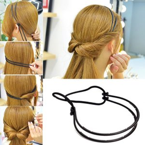 New Style Womens Magic riccioli di capelli Bun Black Headband Girls Bun Maker Maker Double Hairbands Sposa Haar Accessoires Strumento acconciatura