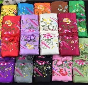 Gestickte Blumen-Make up-Verpackungs-Schmuckrolle Spielraum-Speicher-Beutel-Halsketten-Ohrring-Handtasche Silk Frauen kosmetischer Beutel
