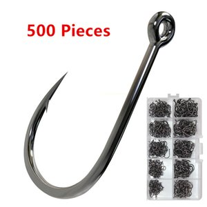 Fishing Hook Bend Nose Edge Sharp 500 Pieces Set Single Black Nickel with Ring Barbed Hooks