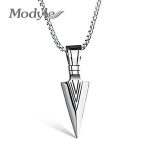 Modyle Punk Male Jewelry Stainless Steel Necklace Spear Shape Pendant Necklaces & Pendants For Male Party Mens Jewelry Gifts