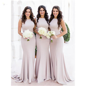 Stretch Satin Mermaid Bridesmaids Dresses 2020 Jewel Neck Wedding Party Dress with Zipper Back