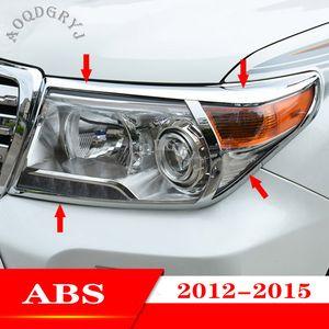 Car Styling ABS Chrome faro anteriore Moulding copertura Trim per Toyota Land Cruiser LC200 2012-2015