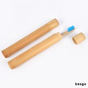 대나무 칫솔 홀더 여행 칫솔 케이스 하이킹 캠핑 휴대용 칫솔 튜브 커버 스토리지 박스 보호 홀더 사용자 정의 DBC BH3143
