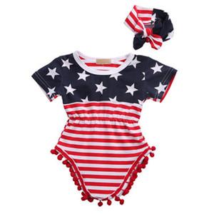 Verano Bebé Niña Mameluco Bandera estadounidense Día nacional de la independencia Estados Unidos 4 de julio Estrella Rayas Algodón fino Manga corta Clímax con banda
