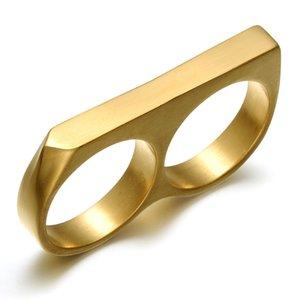Личность Простой Панк из нержавеющей стали золочение Double Two Finger Ring Hip Hop Jewelry Double перстов для мужчин