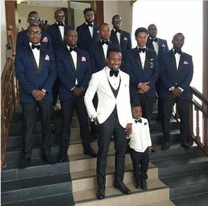 White Wedding Tuxedos Groom Wear Groomsmen Suits 2019 Modest Slim Fit Mens Business Suit Jacket + Pants + Vest Men's Suits Wedding Suits