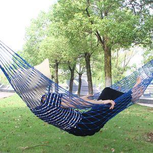 Outdoor Leisure Nylon Rope Net Hammock Single Filhos Adulto balanço Estudantes Dormitório Hammock Nap redes penduradas Bed