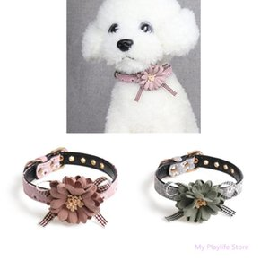 Small Dogs Cat Collars Cute Flower Bowknot Collar Pet Dog Collar Charms Necklaces Leash Adjustable Pet Supplies C42