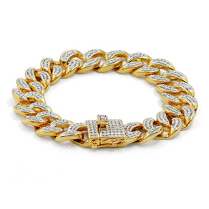 """Fashion Gold Color Plated Micro Pave Cubic Zircon Bracelet All Iced Out 7"""" 8"""" Length Cuban Chain Hip Hop Jewelry For Male"""