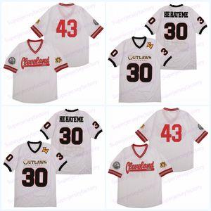 Para hombre 30 Él me odie Jersey Las Vegas Outlaws campeón XFL Él me odie Cleveland 43 camisetas de fútbol en el envío libre