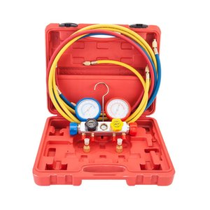 R404A R410A R22 Dual Manifold Gauges Valve Set with Red Plastic Case Red & Yellow & Blue & Golden Pressure Valve