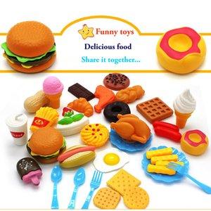 34pcs crianças Cozinha Brinquedos de corte de frutas de plástico vegetal Ice Cream Bebida Food Kit Kat Pretend Play Educação Toy For Kids CX200605