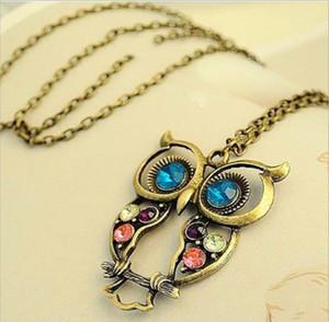 Mode Dame Kristall Eule Anhänger Halskette Vintage Lange Kette Halskette Frauen Tier Modeschmuck Halsketten Geschenk