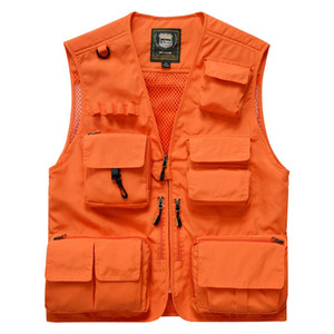 Fashion Vest Men Summer Mesh Men Vest Fishing Photography Mens Vests Plus Size M-4XL Waistcoat With Many Pockets