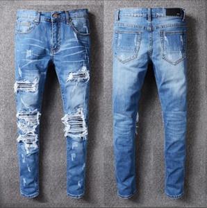 2020 al por mayor de los hombres delgados de destrucción jeans rectos moto jeans ajustados pantalones casuales pantalones vaqueros rasgados de los hombres del tamaño 28-40 33