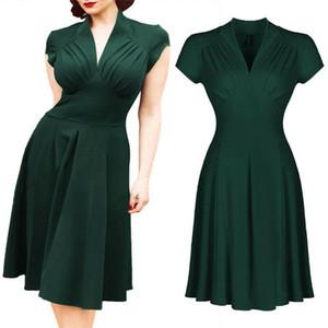 Frauen Vintage Kleid Retro V-Ausschnitt High Waist Party Tee kurzes Kleid