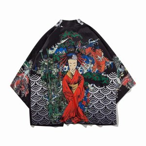 Traditional Chinese roupas vestuário masculino asiático Yukata Jacket Samurai Haori New Chegada Estilo japonês Harajuku Kimono Cardigan