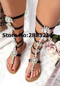 Round Toe Knee High Buckle Strap Strass verziert Wohnungen Sandal Boots Kristallclip-toe Sommer Leder Frau Lange Stiefel