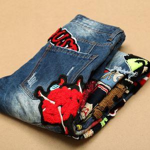 Novas mens reta finos meninos de socorro de jeans jeans rasgados motocicleta com furos de moda destruída patchwork calças jeans bordados Tamanho: 29-38