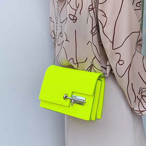 Neon Green Yellow Evening Bags para mujeres 4 colores Pu Leather Satchel Crossbody Bag Casual Party Shoulder BagMX190824