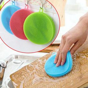 Lavado ronda multifunción herramienta de la cocina de silicona Depuradores de silicona esponja para lavar platos cepillo de limpieza Cepillos para el pote Plato Tazón DBC BH3263