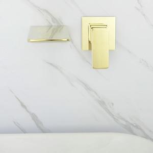 Rose Gold und goldener Messing Wand befestigter Badezimmer-Bassin-Hahn kalte und heiße Waschbecken Wasserfall Tap