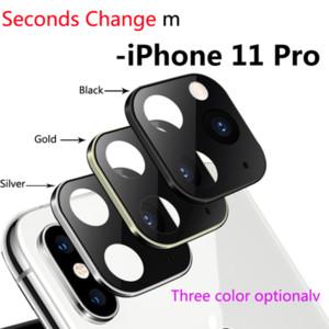Protection en verre trempé secondes Changement pour iPhone 11 Pro Max Camera Lens Cover pour iPhone X XS MAX Titanium Boîtier en alliage de caméra arrière couverture