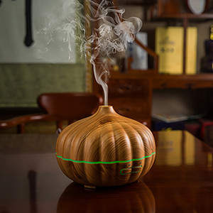 NEW 500ML Aroma Essential Oil Diffuser Ultrasonic Air Humidifier Freshener Wood Grain Pumpkin 7 Colors Changing LED Light for Office Home
