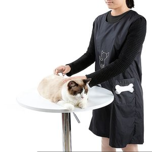 Pet Shop Clothes Beautician Overall Anti-stick Hair Grooming Apron Waterproof Cat Dog Bathing Suit Sleeveless with Pockets