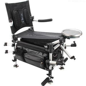 Alluminio Sedie in lega da pesca Pesca Box 2in1 multifunzionale pieghevole di sollevamento spalle sedia portatile portanti 200kg
