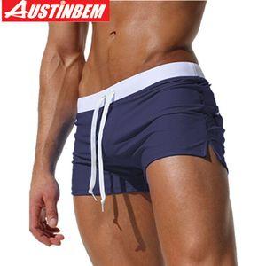 Austinbem Swimwear Men Swimming Trunks Buttock Zipper Pocket Swim Shorts Beach Wear Swimsuit Bathing Suits Sexy Gay Boxer Briefs J190715