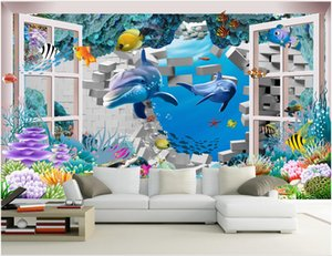 WDBH 3d photo wallpaper custom mural Dolphin window outside the underwater world room home decor 3d wall murals wallpaper for walls 3 d
