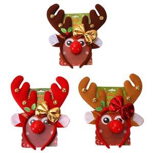 Christmas Headband Cute Reindeer Horns Women Girls Elk Antlers Hair Hoop Headband Red Nose for Xmas Kid Costume Party Prop