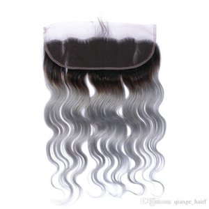 #1B Grey Ombre Indian Human Hair 13x4 Ear to Ear Lace Frontals Body Wave Two Tone Silver Grey Lace Frontal Closure Bleached Knots