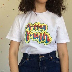 Pudo-xsx1pcs Cool Fashion Rotten Youth Women Korean Fashion Vintage T-shirt Grunge Style Aesthetic White Tee Y19072001