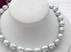 12-14MM TAHITIAN NATURE GRAY PEARL NECKLACE 925 실버