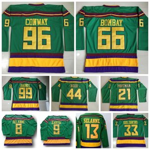 Anaheim Mighty Ducks Jersey Movie 1993 1994 Ice Hockey 96 Charlie Conway 66 Gordon Bombay 21 dean portman 44 Reed Vintage Green