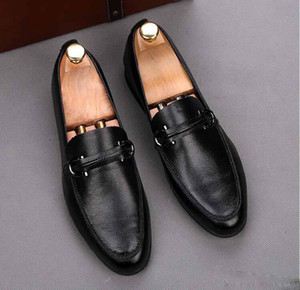 NEWspring New mens dress shoes Horsebit mocassini a punta scarpe casual da sposa scarpe nere