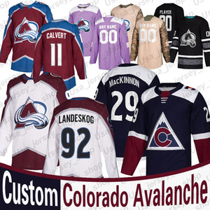 Colorado Avalanche Nathan MacKinnon Jersey Gabriel Landeskog Nikita Zadorov Matt Calvert Philipp Grubauer de Mujeres Jóvenes de hockey jerseys