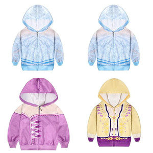 Congelado 2 Hoodies 3 estilos Bebés Meninas dos desenhos animados congelado Zipper Hoodies congelada 2 Costume Size100 / 110/120/130/140 Brasão dos desenhos animados para crianças