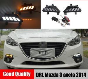 Para Mazda 3 Axela 2014 2015 2016 impermeável carro DRL 12V LED Daytime Running luz Fog Lamp com Dynamic Vire estilo Signal Relé