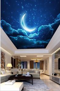 Individuelles Murals 3D Decken Nacht Malstil Himmel gebogener Mond Sterne Wohnzimmer Schlafzimmer Deckengemälde