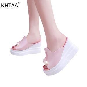 KHTAA Femmes D'été Sandales Épais Talon Peep Toe Compensées Sandales Sexy Perles Pantoufles Plate-Forme Sandalias Diapositives Chaussures Hautes