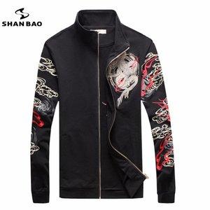 Оптово ШАНЬ BAO индивидуальности бренда воротник молния куртка популярный рисунок китайского ветра дракон печать белого черный жакет вышивка мужского