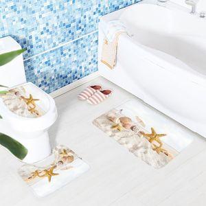 3Pcs Bath Mat Set Beach Seashell Pattern Toilet Carpet Anti Slip Mat Washing Machine Bathroom Rug Other Bath Toilet Supplies
