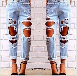 Mode Womens Destroyed Ripped Jeans Distressed Hole Jeans Hosen Wild Sexy übertrieben Big Hole Bettler Boyfriend Jeans Multi Holes Hot