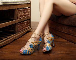 Marques Jazz Salsa Outdoor chaussures de danse latine pour la danse Femmes Bande vache jaune avec des talons Outsole Schoenen Sandales d'été